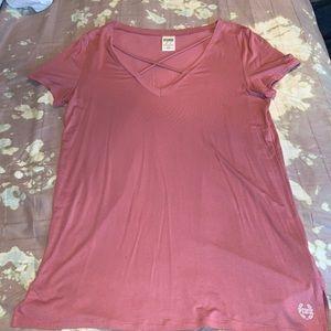 Victoria's Secret pink V-neck T-shirt